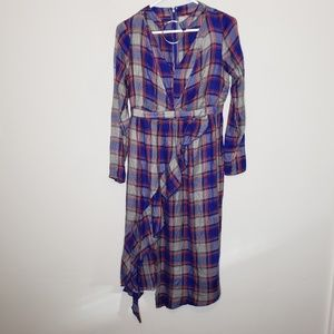 ASOS Blue Cutout Plaid Flannel Long Sleeve Dress